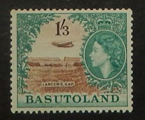 Basutoland 53. 1954 1/3 Aquamarine and brown QE, NH