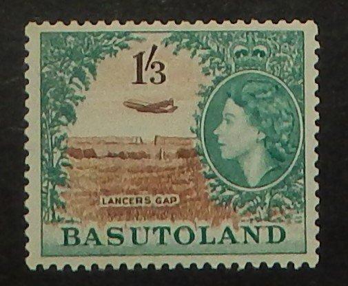 Basutoland 53. 1954 1/3 Aquamarine and brown QE, NH