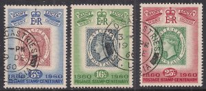 St Lucia 1960 QE2 Set of 3 Stamp Centenary used SG 191 - 193 ( A69 )