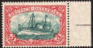1908 GEA German East Africa 3 Rupien Kaiser Yacht Red & Blkish Grn MVLH Sc# 41a