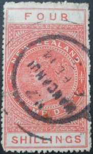 New Zealand 1913 Four Shillings p14 SG F101 used
