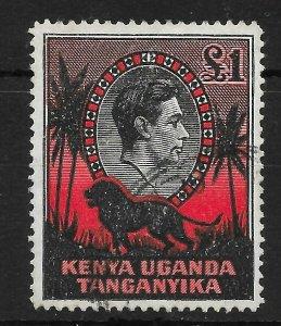 KENYA, UGANDA & TANGANYIKA SG150a 1941 £1 BLACK & RED p14 USED