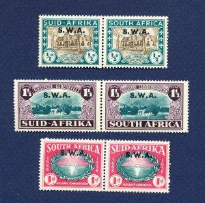SOUTH WEST AFRICA - Scott B9-B11 - SG 111-113 - B10 & B11 are MNH; B9 is hinged