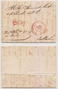 SPANISH ANTILLES 1845 PRESTAMP RED S.TIAGO DE CBA OVAL FRANCO TO SALTADERO