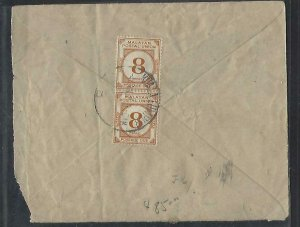 MALAYA COVER (PP0811B)  INCOMING COVER FROM INDIA POSTAGE DUE 8C PR