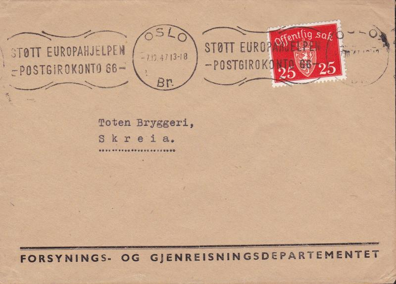 Norway 1947 Official on Official Rate Cover. Early Europa Forunner Cancel