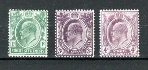 Malaysia - Straits Settlements 1904-10 1c, 3c and 4c MH