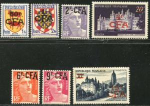 REUNION Sc#288//296 1951-52 Overprints on France Part Set OG Mint Mostly NH