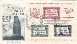 1955, United Nations Souvenir Sheet, FDC (36352)