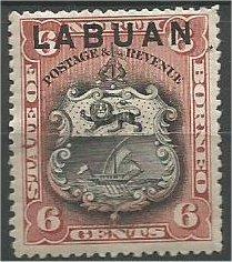 LABUAN, 1894, MH 6c, Arms  Scott 53