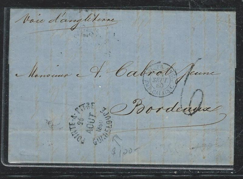 GUADELOUPE FRENCH COLONY (P2612B) 1860 STAMPLESS POINTE A PITRE TO FRANCE
