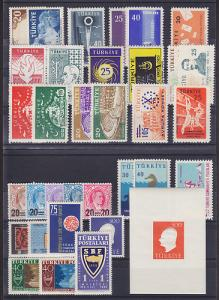 Turkey Sc 1424/1475 MNH. 1958-59, 18 cplt sets + S/S