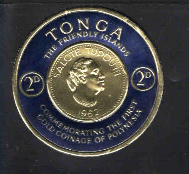 TONGA  Scott 129 MNH** embossed image of gold coin on stamp