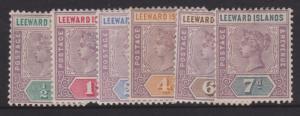 Leeward Islands 1890 QV Short Set Sc#1-6 Mint