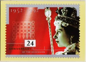 Great Britain. 1992 Accession to the Throne. PHQ Cards(5) Unused