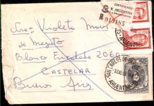 AARG-324 ARGENTINA REGISTERED LETTER PROC Y RIQ 50 Ps+20PSx2 SMALL SIZE