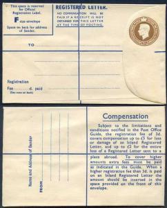 RP65 KGVI 5 1/2d Registered Envelope Size F THOMAS DE LA RUE Imprint RARE MINT