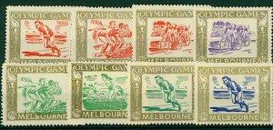 Australia Melbourne 1956 Olympic Games set  (8v) U Mint Stamps