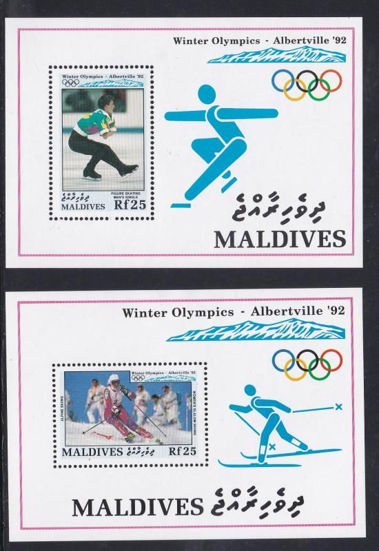 Maldive Islands # 1725-1726, Albertville Olympics, Skiing, Hinged, 1/3 Cat.