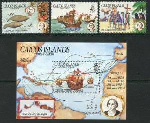 CAICOS IS. Sc#50-53 1984 Columbus 1st Landing Cpl Set & SS OG MNH