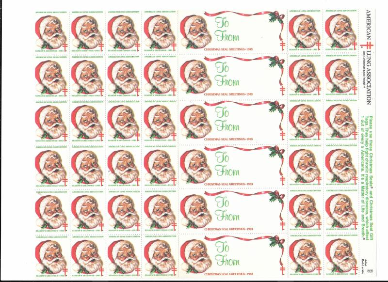 Christmas Seals American Lung Assoc 1983 Santa Claus Stamps 42 MNH Cinderellas
