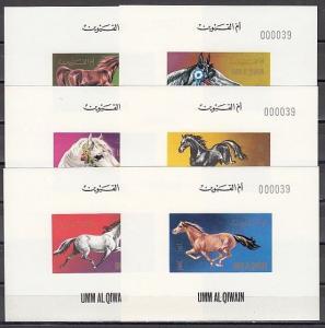 Umm Al Qiwain, Mi cat. 496-501 C. Various Horses issue as Deluxe s/sheets. ^