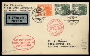 Austria 1930 Graf Zeppelin Si87 Schweizfahrt Geneva Genf 56 Flown Cover 91083