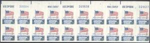 1338Fi, IMPERFORATE PLATE BLOCK OF 20 FLAG ERROR