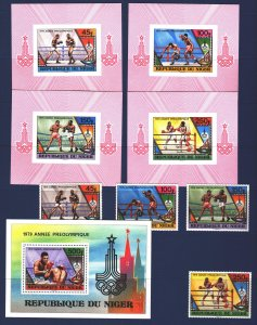 Niger. 1979. 673-76, bl24 + lux blocks. Boxing, Moscow, Summer Olympic Games....