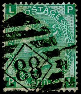 SG117, 1s green plate 4, USED. Cat £65. PL