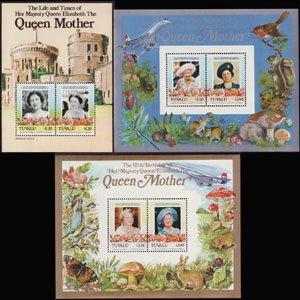 TUVALU 1985 - Scott# 315-7 S/S Queen Mother NH