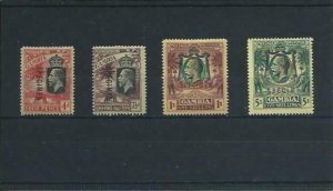 GAMBIA 1922-29 MCCA SET OF FOUR OVERPRINTED SPECIMEN MM SG 118s/121s CAT £180