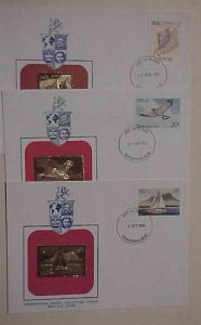 NEVIS 3 DIFF. FDC GOLD FOIL 1980,1985,1988 CACHET UNADDRESSED