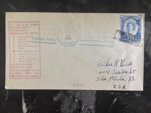 1934 Niuafoou Tonga Toga Tin Can Canoe Mail Cover to Philadelphia Pa USA