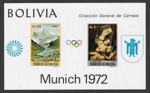 Bolivia C318a-C319a sheets,MNH.Mi Bl.34-35,MNH. Olympics Sapporo-1972.Paintings.