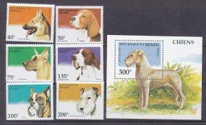Benin 741-47 MNH 1995 Various Dogs Full Set + Souvenir Sheet Vry Fine
