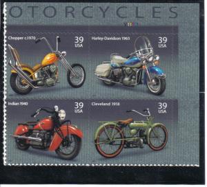 4085-88 - .39 Motorcycles plate block mnh vf.