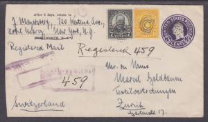 US Sc 639, 642 Uprate U439. 1937 Registered Entire, NY-Switzerland