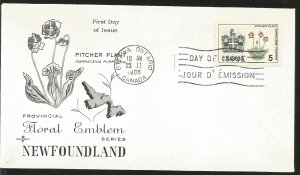 J) 1966 CANADA, PITCHER PLANT, FLOWER, FLORAL EMBLEM, NEWFOUNDLAND, WITH SLOGAN