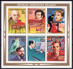 Malagasy 1988 Sc#869/874 Composers-Elvis Presley Compound Sheetlet IMPERF.MNH
