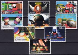 Turkmenistan 2001 South Park -American Flag Set  (9) MNH