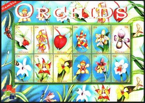 Gambia. 2001. Small sheet 4191-4202. Orchids, flowers, flora, butterflies. MNH.