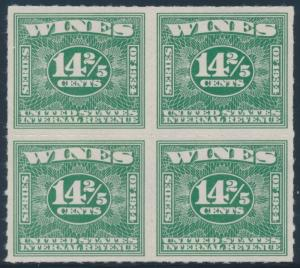 #RE96A 14 2/5c WINE STAMP BLOCK OF 4 -- XF -- CV $950+ HW4433