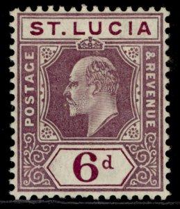 ST. LUCIA EDVII SG73, 6d dull purple, M MINT. Cat £75.