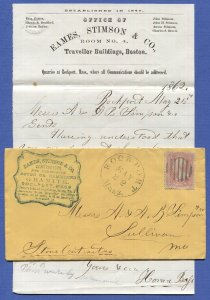 US 1861 3c Rose Pink, Scott 64b on 1862 c.c. cover, ROCKPORT, MA + Letter