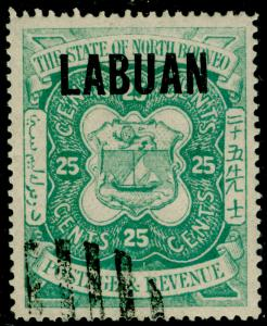 LABUAN SG80, 25c green, FINE USED.