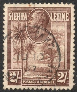 SIERRA LEONE-1932 2/- Chocolate Sg 164 FINE USED V42955