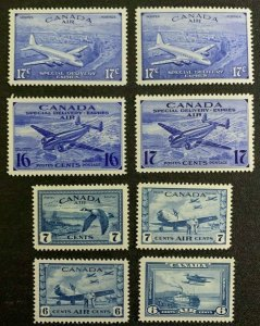 #C6-C9 / CE1-4 - Canada - Air Mail / S Delivery - MNH -VF- superfleas - cv$60