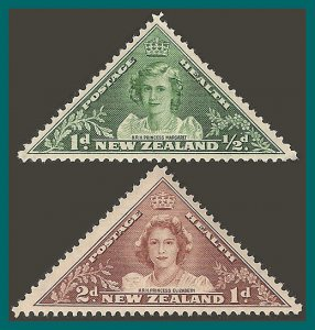 New Zealand 1943 Health, Princesses, MNH #B22-B23,SG636-SG637