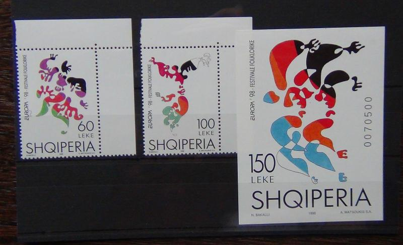 Albania 1998 Europa National Festivals Set & Miniature Sheet MNH